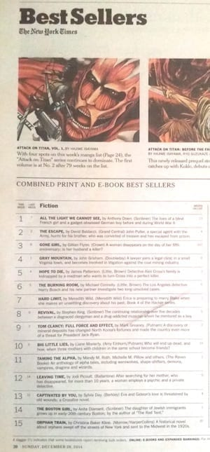 #11 NYT (combined print and ebook)